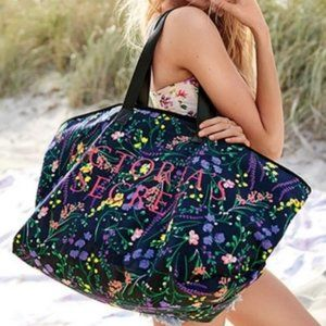 NEW VICTORIA'S SECRET Black Floral Beach Tote